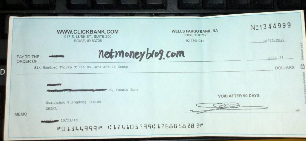 一张作废的Clickbank支票